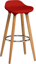 Adoni Bar Stool In Red ABS With Natural Beech