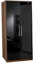 Adtrad 2 Door Wardrobe - Walnut and Black Gloss