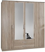 Adtrad Oak Effect 4 Door 2 Drawer Mirrored