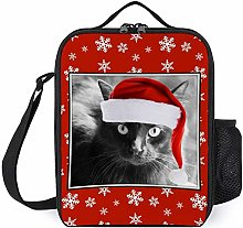 Adult Lunch Box, Christmas Cat on Red Insulated