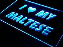 ADV PRO s056-b I Love My Maltese Dog Pet Neon