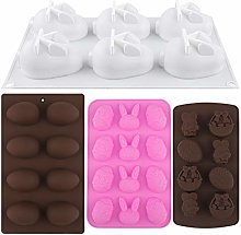 ADXCO 4 Pieces Easter Silicone Mold Egg Bunny