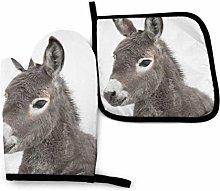 AEMAPE Oven Mitt and Potholder,Baby Donkey Oven