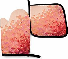 AEMAPE Oven Mitt and Potholder,Coral Pink Oven