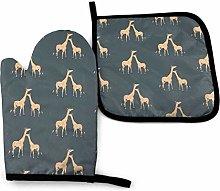 AEMAPE Oven Mitt and Potholder,Giraffes Oven Glove