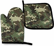 AEMAPE Oven Mitt and Potholder,Jungle Camouflage