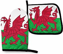 AEMAPE Welsh Dragon Flag Heat Resistant Oven Mitts