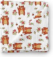 Aenne Baby Bear Muslin Swaddle Blanket Floral