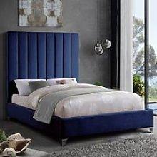 Aerostone Plush Velvet Upholstered Double Bed In