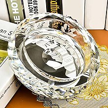 AERVEAL Ashtray Silver Plated Round Crystal Glass