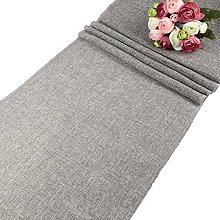 AerWo Gray Natural Imitated Linen Table Runner for