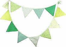 AFANGMQ 12Pcs(3.2m 12 Flag) Green Series Cotton