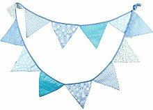 AFANGMQ 2Pcs 3.2m 12 Flags Blue Washable Cotton