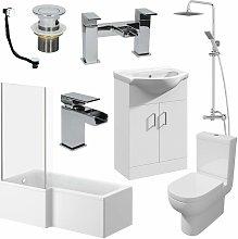 Affine - 1600mm LH L Shaped Bathroom Suite Bath