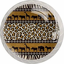 African Animals White Crystal Drawer Handles