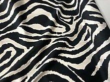 African Black & Cream Zebra Stripes Print Linen