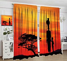 African Curtains, Child and Mother at Sunset