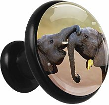 African Elephant Cabinet knobs Black 4 knobs for