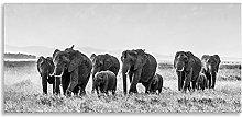 African Elephants Art Black White Animal Kingdom