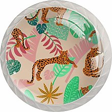 African Leopard with Tropical Leaves 4 Pack Round