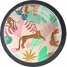 African Leopard with Tropical Leaves Drawer Pull