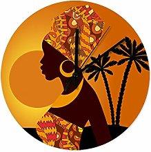 African Woman Tree Wall Clock Wooden Modern