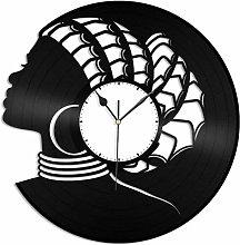African Woman Vinyl Wall Clock Retro Vinyl Record