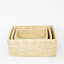 Afroart - 3-Set Natural Palm Rectangle Basket -