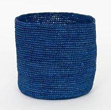 Afroart - Blue Raffia Basket, Medium Size - Fair