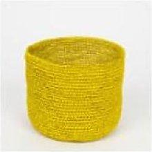 Afroart - Handmade Yellow Crocheted Raffia Basket