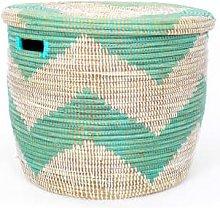 Afroart - Large White/Turquoise Sene Simon Basket