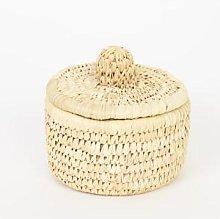Afroart - Natural Palm Unit Basket W Lid Small -