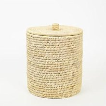 Afroart - Natural Palm Unit Waste Basket with Lid
