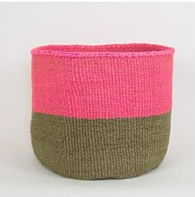 Afroart - Pink/Olive Sisal Basket XL Size - Fair