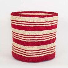 Afroart - Red/White Sisal Basket XL - Fair Trade |