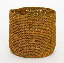 Afroart - Small Mustard Raffia Basket - H 15 cm,