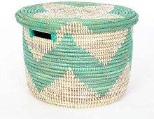 Afroart - Small White/Turquoise Sene Simon Basket
