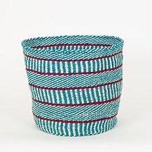 Afroart - Turquoise/Red/White Sisal Basket, Large