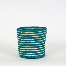Afroart - Turquoise/White Sisal Basket Small Size