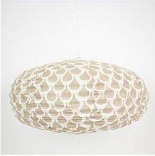 Afroart - Warm Grey/White Meringue Oval Lampshade