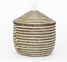 Afroart - White/Black Sally Striped Basket with