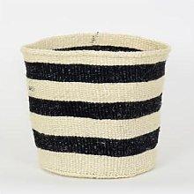 Afroart - White/Black Sisal Basket, Large Size -
