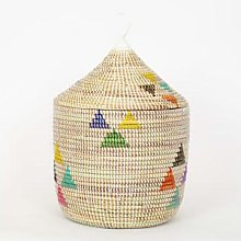 Afroart - White/Multicolor Sally Basket with Lid -
