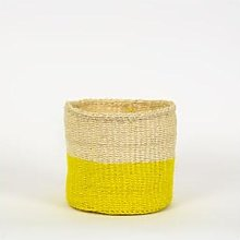Afroart - White/Yellow Sisal Basket Small Size -