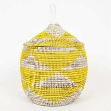 Afroart - Yellow/White Sally Basket with Lid -