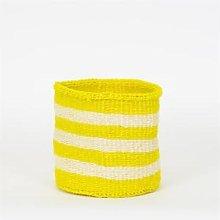 Afroart - Yellow/White Sisal Basket, Medium Size -