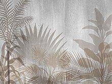 AG Design Tropical Plants on Grey Fleece Photo