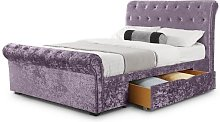 Agata Double Bed In Lilac Crushed Velvet With 2