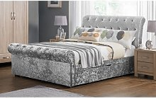 Agata Double Bed In Silver Crushed Velvet With 2