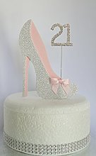 Age 21 Birthday Cake Decoration. 21st Silver Shoe